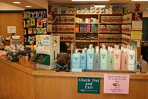 Dog and cat supplies are available at the animal hospital